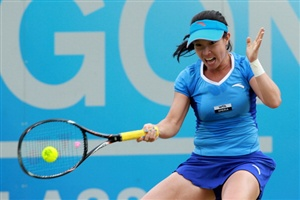 Jie Zheng of China hits a return during her match against Anne Keothavong of Great Britain during day three of the AEGON Classic at Edgbaston Priory Club on June 13, 2012 in Birmingham, EnglandBirmingham England, Jie Zheng, China Hit, 11 00 Bst, Anne Keothavong, Aegon Classic, Priory Club, Edgbaston Priory, Aegon Championship