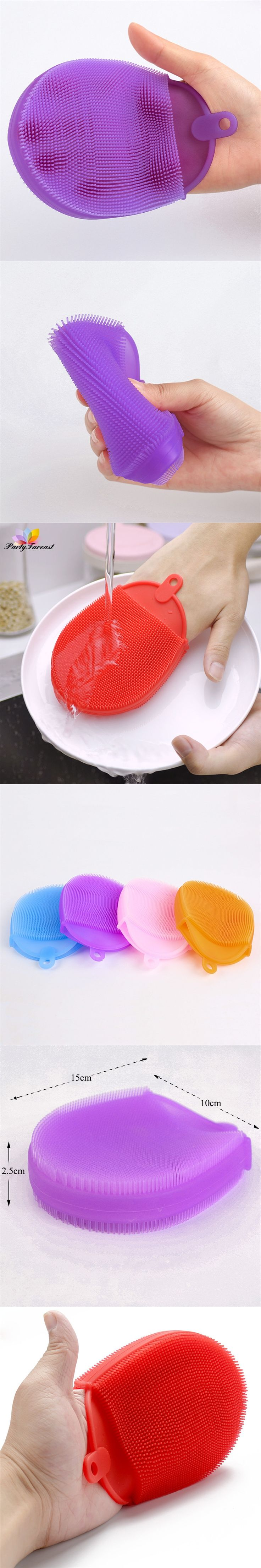PF Random Color Cleaning Brush for Dishes Bowls Silica Gel Kitchen Tools Repeatedly Used Limpeza Casa Household Cleaning Brushes