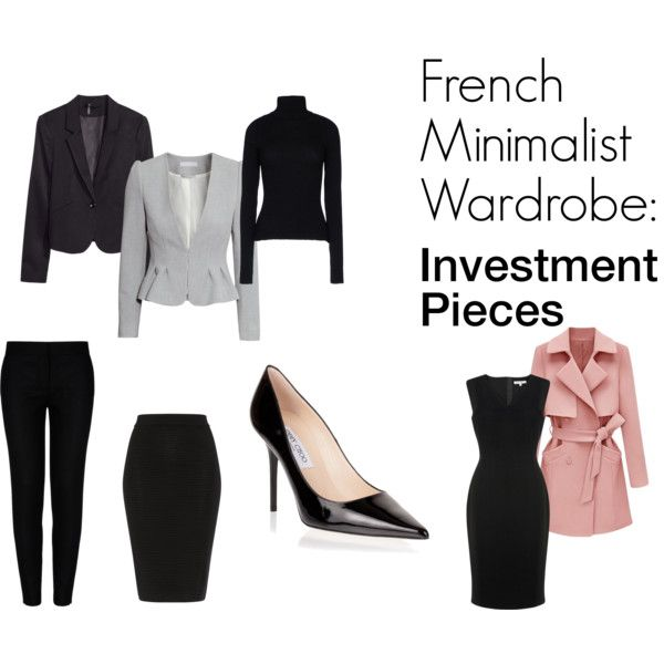French Minimalist Wardrobe: Investment pieces by skyruijter on Polyvore featuring L.K.Bennett, Anthony Vaccarello, H&M, STELLA McCARTNEY, Jaeger and Jimmy Choo