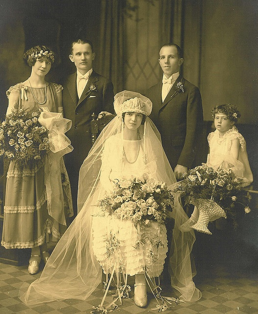 +~+~ Antique Photograph ~+~+  1925 Frank and Marie Tichy Wedding.