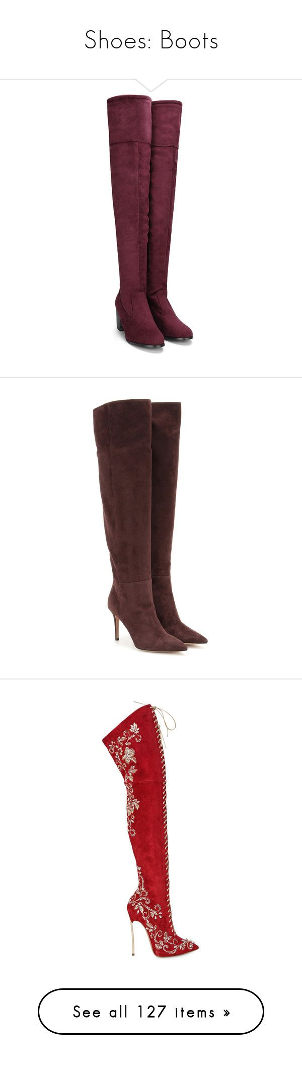 """""""Shoes: Boots"""" by crownprincessamanda ❤ liked on Polyvore featuring shoes, boots, yoins, red, knee high boots, suede thigh-high boots, over-the-knee lace-up boots, over-the-knee suede boots, chunky heel over the knee boots and brown"""