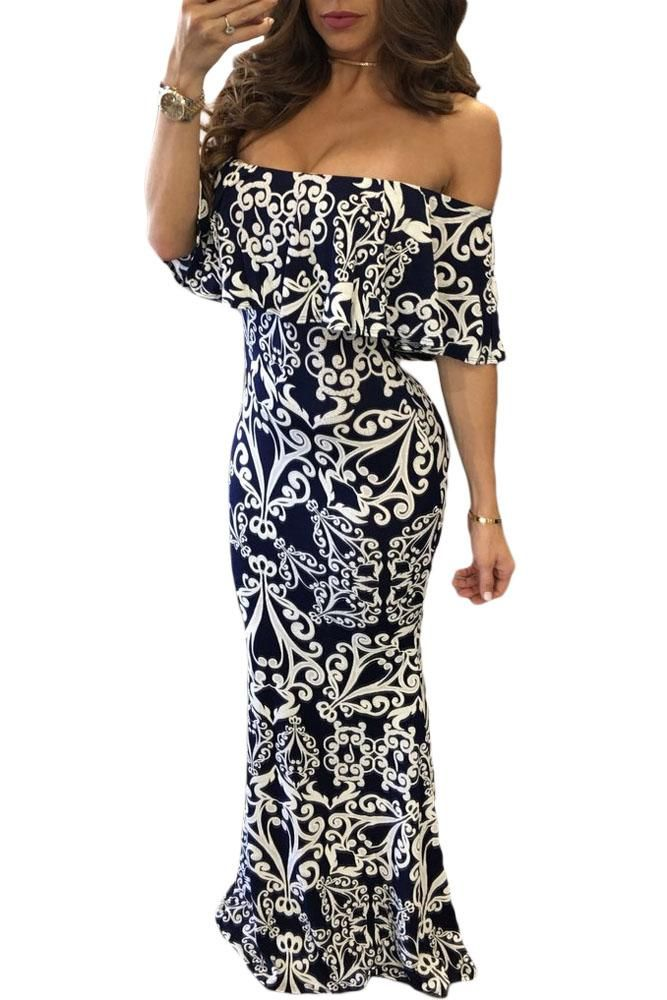 White Tendril Print Navy Off-the-shoulder Maxi Dress