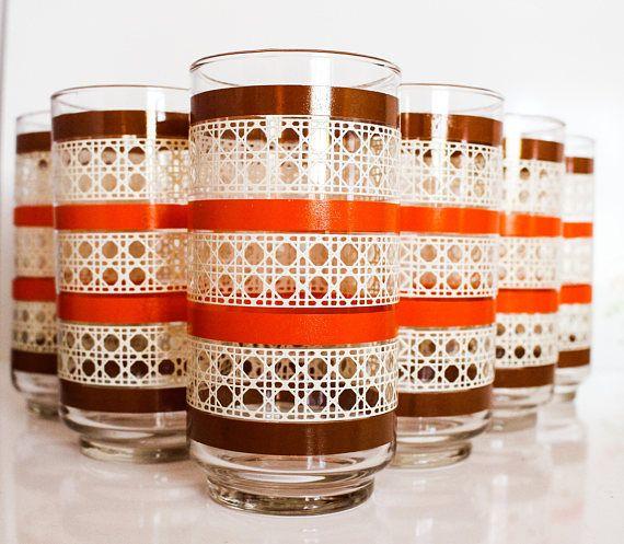 8 Vintage Libbey Juice Glasses  Ivory and Orange Basketweave