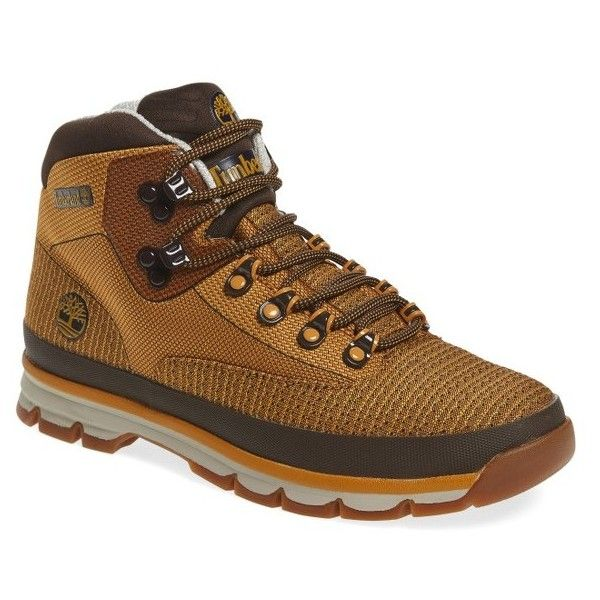 Men's Timberland Euro Hiker Boot featuring polyvore, men's fashion, men's shoes, men's boots, wheat, timberland mens shoes, mens shoes, timberland mens boots, mens lightweight waterproof boots and mens lightweight running shoes