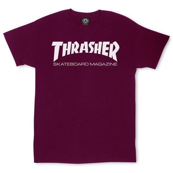 Thrasher Skate Mag T-Shirt ❤ liked on Polyvore featuring tops, t-shirts, purple t shirt, purple tee, purple top, logo tee and cotton logo t shirts