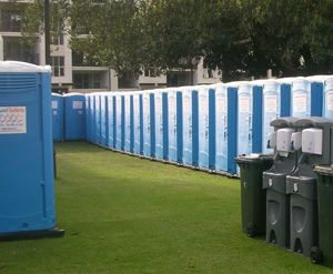 Portable toilets at a festival.