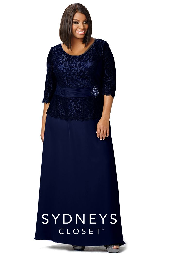 Chic Plus Size Evening Gown Lace Sleeves SC4020   Sydney's Closet