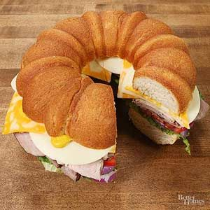 A bundt pan gives cold cuts a whole new look -- these sandwiches are definitely party-ready./