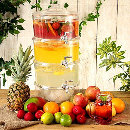 3-Tier Drink Dispenser 7.5ltr | bar@drinkstuff | Gift Boxed | Tiered Beverage Dispenser, Juice Dispenser, Punch Dispenser, Lemonade Dispenser bar@drinkstuff