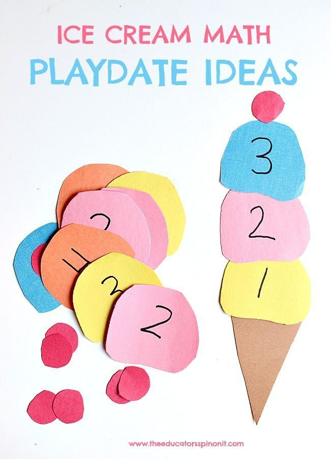 Fun and easy ice cream math playdate ideas for preschool, preK, and kindergarten using supplies you already have in your home or classroom.  Counting to 10, recognizing numbers, numerical order.  Great for homeschool, math center. Summer learning. Ice cream crafts