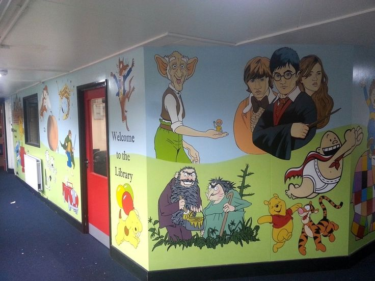 25 best ideas about school murals on pinterest for Character mural