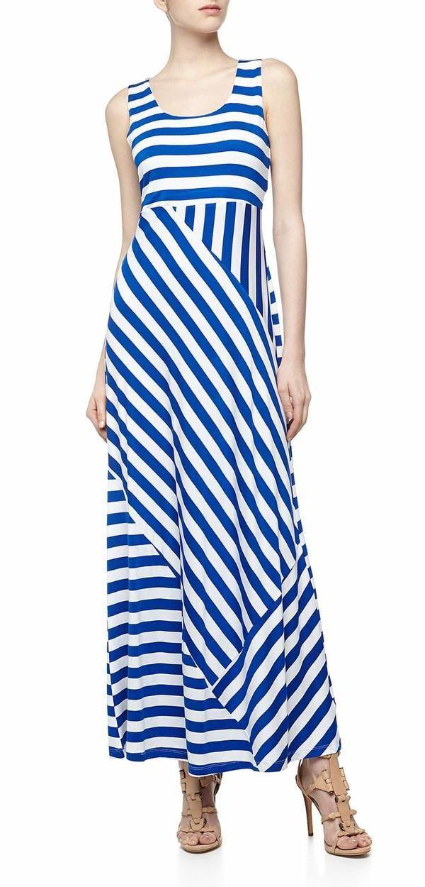 Quilted Stripe Jersey Maxi Dress, Cobalt Breeze/White Stripe