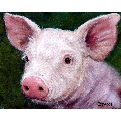 Pig Art Print of Original Painting by Dottie by DottieDracos (Art & Collectibles, Prints, print, dairy, rural, country, farm, farm animals, Dottie Dracos, Dottie Draco, pig, pig art, farm animal art, piglet, pig painting)