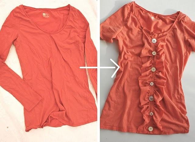 Long Sleeve Shirt to Ruffly Shirt.  Can't get enough ruffles.