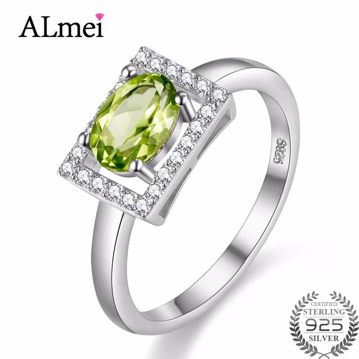 Almei 1ct Peridot White Green 925 Sterling Silver Female Jewelry Wedding Rings For Women Birthday Stone Gifts with Box 40% FJ056