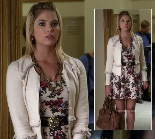 Hanna's white floral/rose print dress and white fringed jacket on Pretty Little Liars.  Outfit details: http://m.wornontv.net/12851/