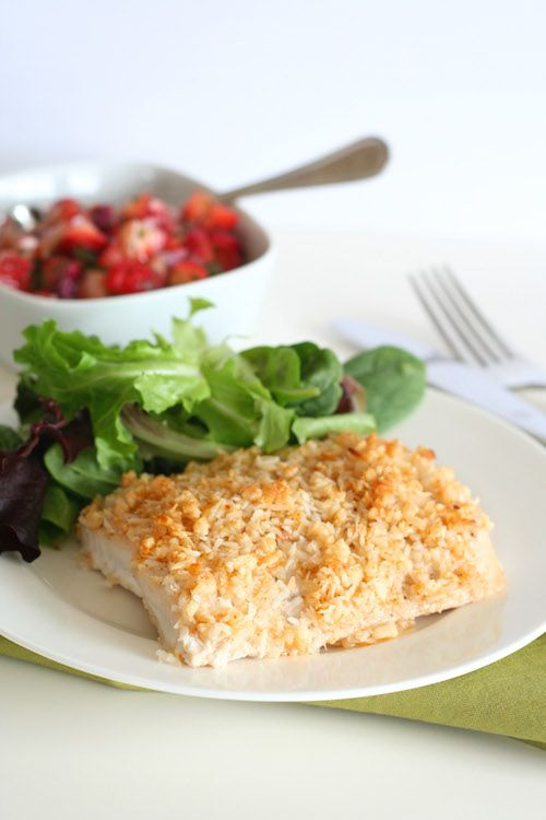 Macadamia Nut Crusted Mahi Mahi with Strawberry Lime Salsa -- there's coconut in that delectable crust, too!