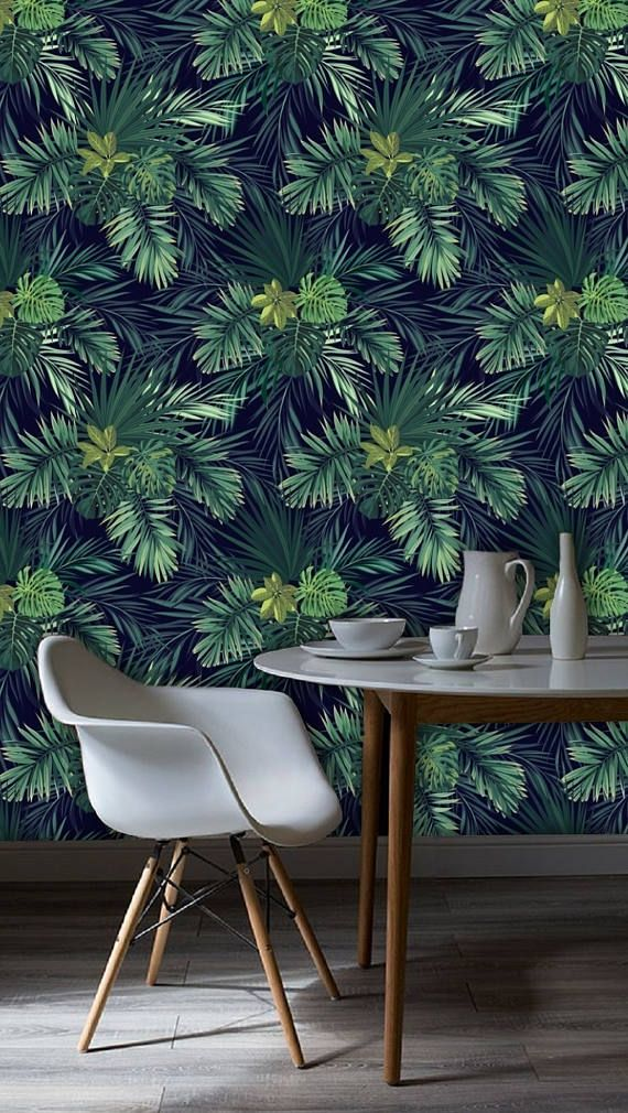 Dark tropical leaf plant wallpaper, green palm pattern, tree jungle, exotic tropic flowers and leaves wall mural, removable, peel & stick, # 31