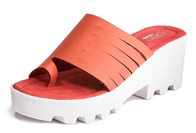 Khadims Women's Red Casual Heel Sandal
