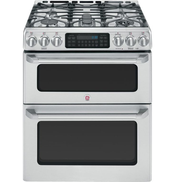 "GE CGS990SET 30"" Stainless Steel Free-Standing Gas Double Oven with Convection Range and 20,000 BTU Tri-Ring Burner from the Cafe Collection"