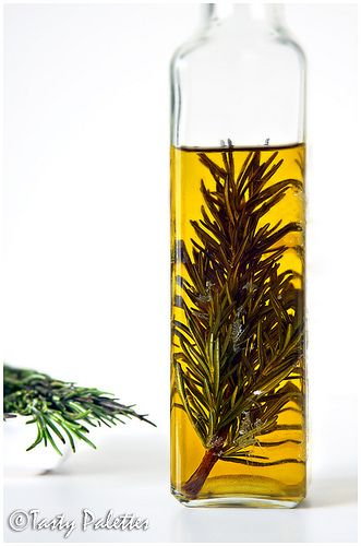 Rosemary Infused Oil Rosemary – 2 or 3 sprigs Good quality olive oil – ¼ cup Wash and pat dry rosemary springs. Take a clean jar, place the sprigs and pour oil into it. Let sit in the refrigerator for about 7 to 10 days. When the flavour is strong, remove the sprig and store oil covered in the refrigerator. This will keep for more than 6 months.