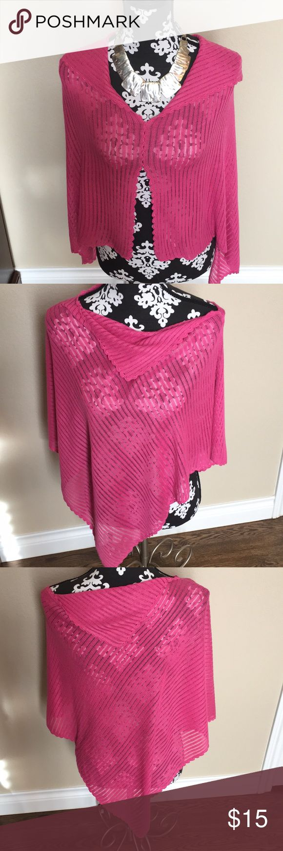 Bubble gum pink cotton poncho Pretty and lightweight cotton poncho Scalloped detailing along the edges  Can be worn many ways  Great to have in your purse for those chilly restaurants and movie theaters.  NWOT 100%cotton  Gentle cycle lay flat to dry  Made in Peru 🇵🇪 Jackets & Coats Capes