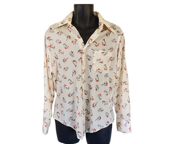 Vintage Men 70s Shirt Eiffel Tower Shirt Collared Shirt 1970s #thevillevintage