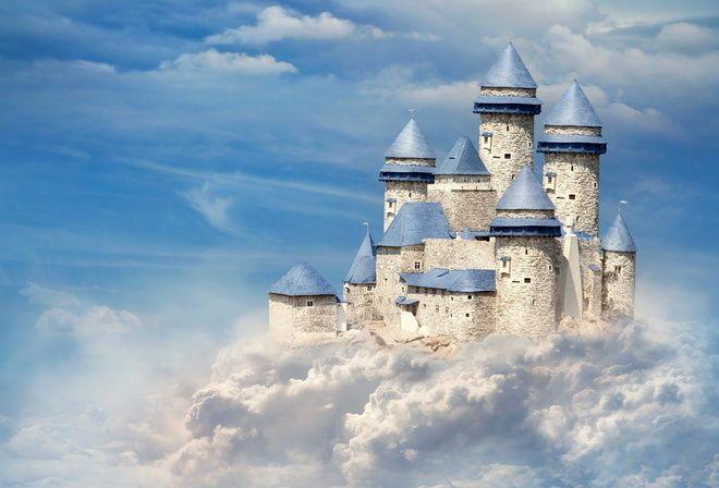 castle, замок, облака, небо, голубой, башни