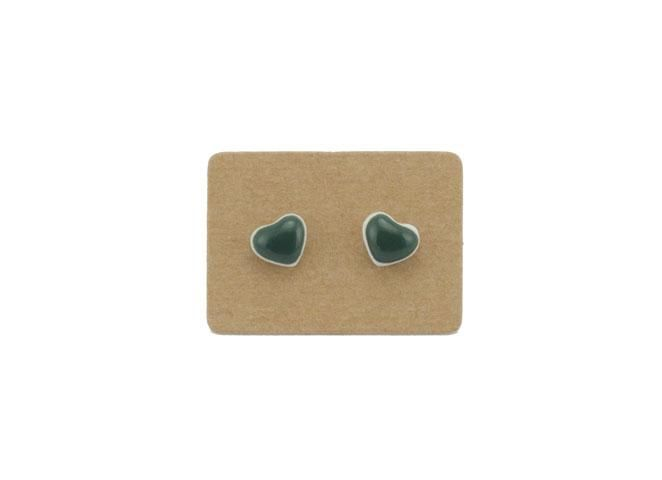 Hand-painted Small Heart Earrings (Dark Green) $18 from Lululoft, Melbourne, Australia