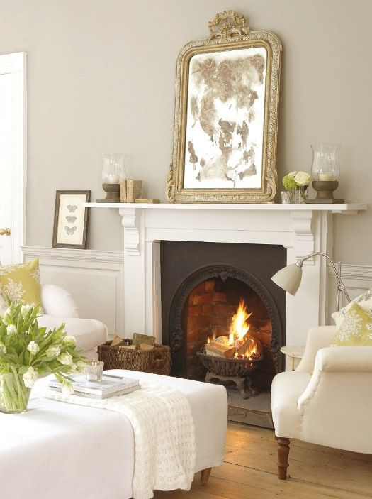 Taupe Greige Walls, Dash of Black in Fireplace  Decor, Wall Colors, Living Rooms, Interiors, Livingroom, Fireplaces, House, Wall Colours, French Grey