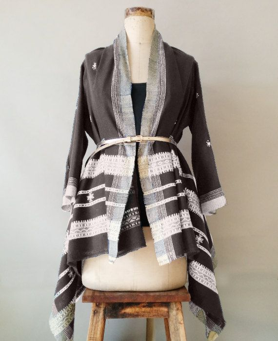 GreyBrown Kutch Handwoven and Embroidered Woollen Jacket by Mogra
