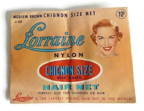 40's Vintage Hair Net Beauty Ephemera Advertising Collectible Woolworths Lorraine Chignon Bun Vanity Prop Brown Hair Prom Wedding Updo
