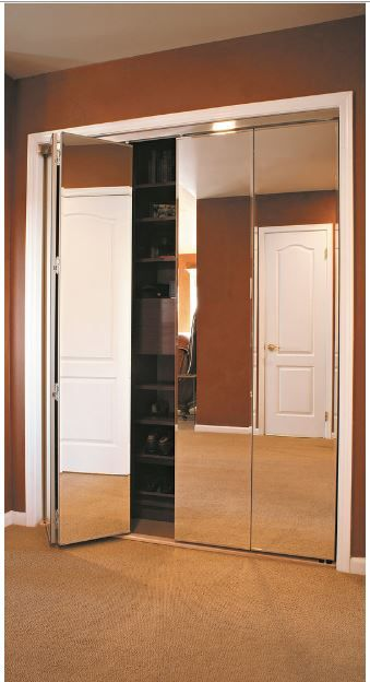 Mirror Bifold Doors Start From 174 54 Track And Trim White Chrome Edge Beveled Or Polished Closet Are Solid ¾ Mdf With