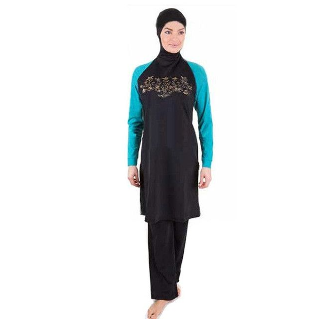 Fortuning\'s JDS Modest Muslim swimwear surfing suit short sleeve swimming Top & Pants swimsuit UPF 50+ beachwear with bra pads B01I3OQAR6
