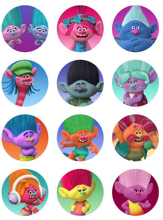Trolls Movie cupcake toppers or stickers favor tags digital