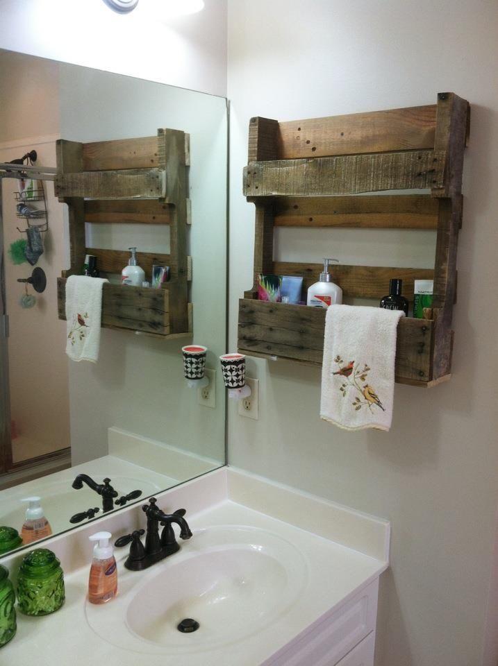 Pin By Loren Sims On Remodel Pallet Pallet Bathroom Pallet Shelves