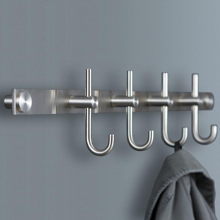 Garderobenleisten mit gebogenen Kleiderhaken - Edelstahl massiv, Haken aus einem Stück gedreht, handgeschliffen. Montage rückseitig verschraubt ebenso möglich.