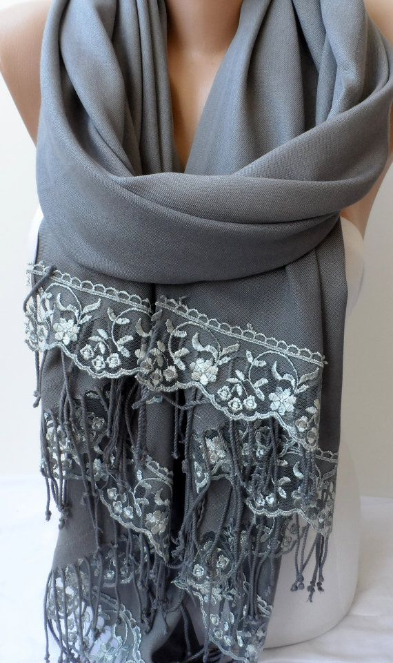 Gray Pashmina Shawls with French Lace Gray Scarfs by elegancescarf