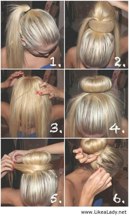 Another option for the sock bun... this looks easier than rolling from bottom to top, especially if you have super long hair like i do! :)