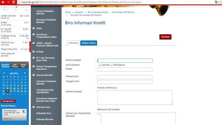 Website BI - Formulir Permintaan IDI