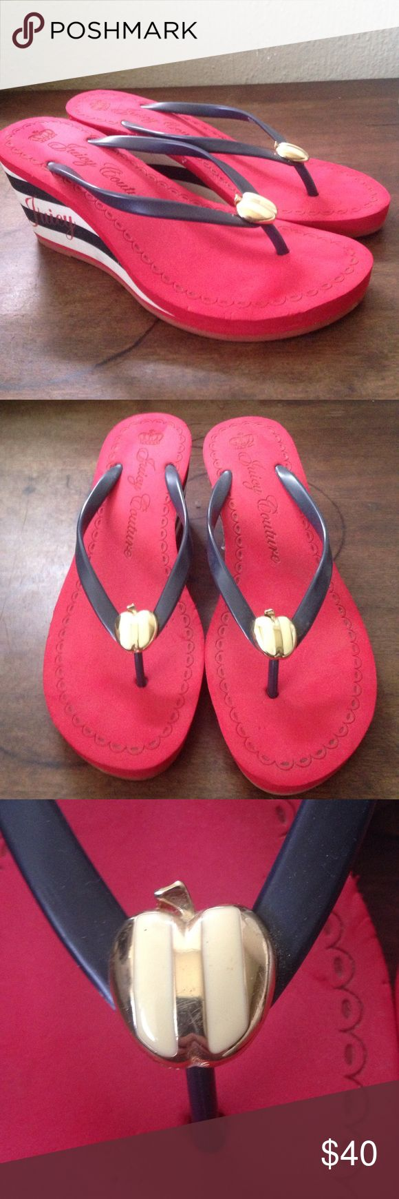 Juicy Couture High-heeled Flip Flops Good condition. They have dust from been in storage for a long time. Never worn outside. Juicy Couture Shoes Sandals