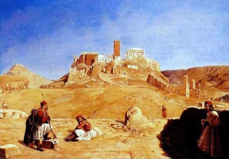 """""""Άποψη της Ακρόπολης"""". Πίνακας  του Raffaello Ceccoli, γιατρού, ζωγράφου & ερασιτέχνη αρχαιολόγου. (1839-1852)."""