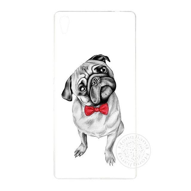 Free Pug Case - Cute Puppy Pug Bunny Cat Princess Meow Bulldog Cover phone Case for sony xperia z2 z3 z4 z5 mini plus aqua M4 M5 E4 E5 C4 C5 XA