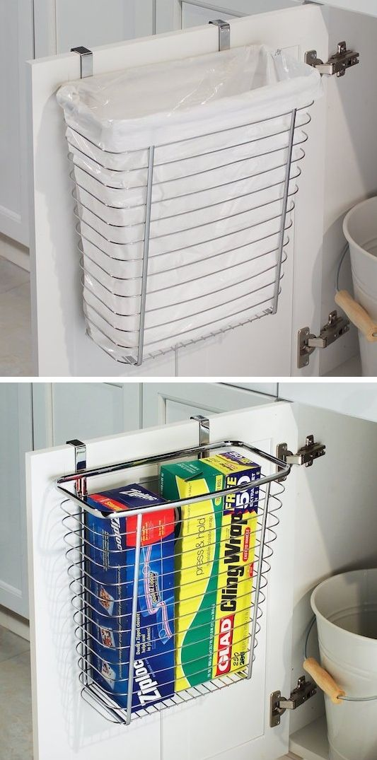 #23. Use the back of a bathroom or kitchen cabinet door for your trash can! | 29 Sneaky Tips For Small Space Living