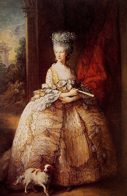 Queen Charlotte is clad in glamor from head to toe in a gold, chiffon (?), and silk dress in this 1781 Gainsborough portrait