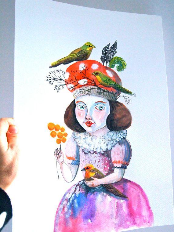 Original painting watercolour and gouache by JessQuinnSmallArt