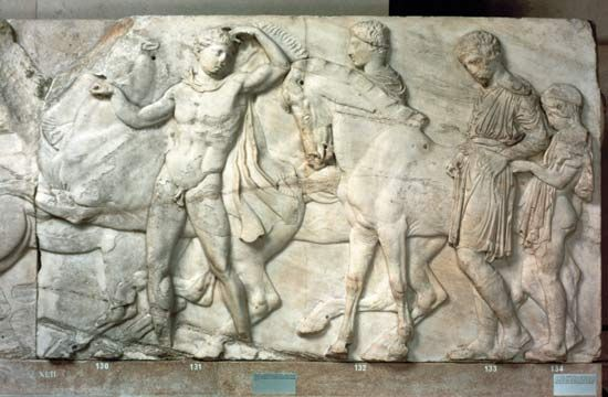 "Gemma thought taking the boys to the British Museum to see the Elgin Marbles would be an educational experience. She was wrong, of course. (""Elgin Marbles: detail of a frieze from the Parthenon"". Photograph. Encyclopædia Britannica Online. )"