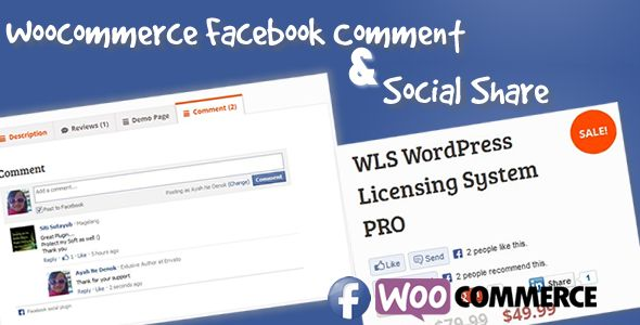 Facebook Commenter & Social Share for Woocommerce   http://codecanyon.net/item/facebook-commenter-social-share-for-woocommerce/5819693?ref=damiamio       Facebook Commenter and Share allow you integrate woocommerce reviewing and commenting system through facebook.  Allow your customer give you review/comment from their facebook account  It also integrated with social share, so you and your customer can share your woocommerce product to your/their facebook timeline easy.  So lets share/and be…