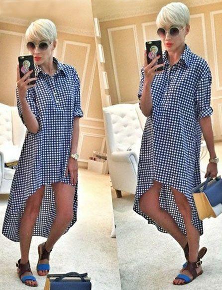 Выкройка «платье-рубашка с перепадом длины»  40-62