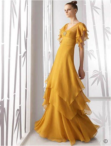 Vintage yellow prom dress with floor length. V-neck with a beaded brooch accented while buttfly sleeves add this chiffon skirt romance touch. Free made-to-measurement service for any size. Available colors seen as in Color Options.